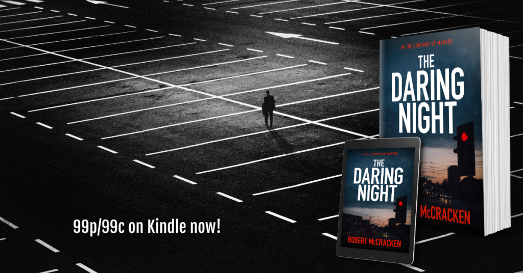 Image of man in empty car park used to illustrate the covers of Robert McCracken's The Daring Night
